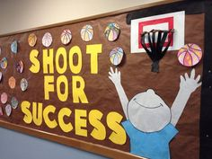 Fun bulletin board for a sports themed classroom or for P.E. or gym class. Under the basketballs there are student written essays.