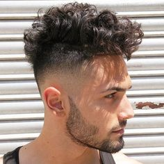 Medium Curly Top + Faded Sides + Beard
