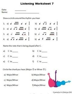 FOURTEEN aural discrimination (listening skill) worksheets. Listening Worksheets to help develop aural skills in Young Musicians Each listening worksheet focuses on the development of the ability to identify FOUR aural concepts: -Rhythm -Intervals -Melody Identification -Major and minor chords An ANSWER sheet is supplied for each worksheet. $