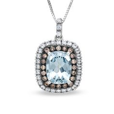 Cushion-Cut Aquamarine and Lab-Created White Sapphire Pendant with Enhanced Brown Diamonds in 14K White Gold - Zales $588