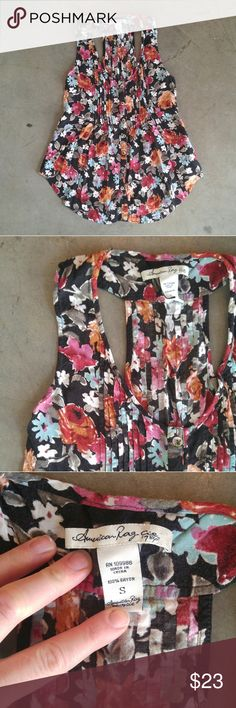 American Rag Floral Racerback Swing Tank American Rag brand tank, size small, in pre-loved condition. Some pilling and fading from wear and wash. Black with colorful floral print. Small pleats on chest and buttons down front. Racerback and flowy swing style. Please ask any questions. No trades. Make a reasonable offer.  Thanks! American Rag Tops Tank Tops