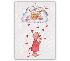 Liebeskarte mit Engelchen und Teufelchen: I love you - http://www.1agrusskarten.de/shop/liebeskarte-mit-engelchen-und-teufelchen-i-love-you/    00021_0_2204, 14.2., amour, Französisch, Grußkarte, Klappkarte, Liebe, Paar, Valentinskarten, Verliebte00021_0_2204, 14.2., amour, Französisch, Grußkarte, Klappkarte, Liebe, Paar, Valentinskarten, Verliebte