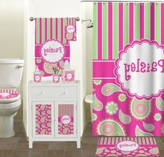 The Pink Bathroom Sets is something That ought to be implemented within your toilet. The sorts of this are bath vanities, the hanger of towel, the mor... Bathroom Accessories Sets, Bathroom Sets, Bathroom Furniture Design, Bath Vanities, Pink And Green, Toilet, Hanger, Vanity, Curtains