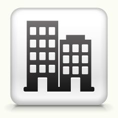 Square Button with Buildings royalty free vector art vector art illustration