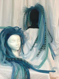 Mermaid Fairy Turquoise Blue Rave Wig Cyberlox by NeonShowgirl