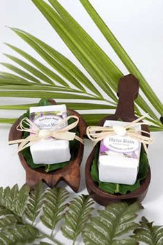 Hawaiian wedding favors - LOVE the wooden containers these favors come in!