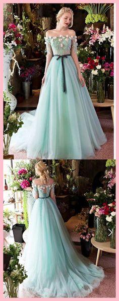 A-line Princess Sweep Train Wedding Dresses, Off-the-Shoulder Prom Dresses ASD2570 princess Cinderella ,Fairy tale