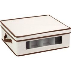 Honey-Can-Do Natural Canvas Window Storage Box, Large, White