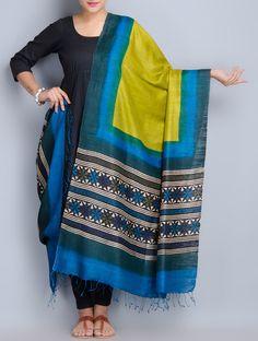 Buy Multi Color Silk Hand Block Printed Dupatta Matka Accessories Dupattas Online at Jaypore.com