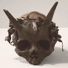 Several human skulls with horns protruding from them were discovered in a burial mound at Sayre, Bradford County, Pennsylvania, in the 1880′s. With the exception of the bony projections located about two inches above the eyebrows, the men whom these skeletons belonged to were anatomically normal, although at seven feet tall they were considered to be giants. Burial was believed to have been in the neighborhood of 1200 AD.