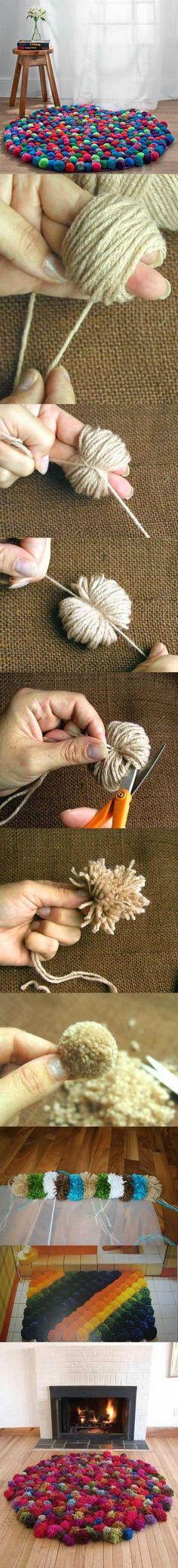 DIY Unusual Pom Pom Floor Mat DIY Unusual Pom Pom Floor Mat - neither knitt or crochet, but involves yarn ; Yarn Crafts, Home Crafts, Diy And Crafts, Arts And Crafts, Diy Projects To Try, Craft Projects, Sewing Projects, Knitting Projects, Project Ideas