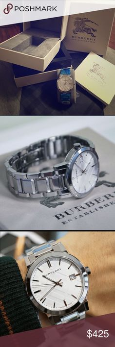 🆕Burberry 38mm Check Stamped Watch (BU9000) A multi-link bracelet breathes new life into a signature watch boasting a hydraulic-stamped check pattern on the round face. Unisex watch. Swiss Made. *COMES WITH BURBERRY PRINT CLOTH. * MOVEMENT:Quartz * CASE SIZE:38 mm * CASE THICKNESS:8 mm * CASE MATERIAL:Stainless Steel * DIAL COLOR:Silver Check Stamped * CRYSTAL:Sapphire Crystal * BAND WIDTH:30 mm * WATER RESISTANCE:50 meters / 165 feet * CALENDAR:Date display at the 3 o'clock…
