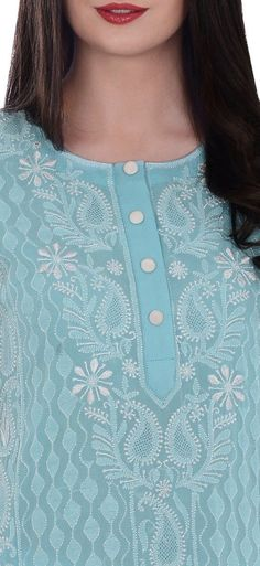 Aqua Blue Pure Georgette Hand Embroidered Resham Chikankari Shirt