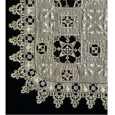 Linen handkerchief with cutwork, needle lace and embroidery