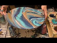 (76) (17) Acrylic pour with my favorite color palette! - YouTube
