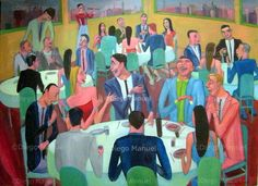 """Reunion social 5 "", acrylic on canvas, 130 x 95 cm. 2009 Price of original painting: inquire"