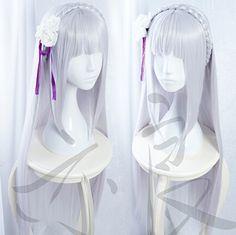 Re:Zero kara Hajimeru Isekai Seikatsu - Emilia Purple, Silver anime Cosplay Wig. #anime #cosplay #emilia #rezero #hairstyle #wigs #costume