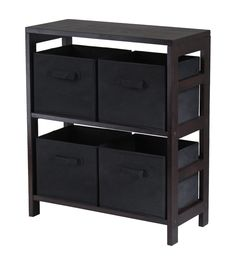 Capri 2-Section M Storage Shelf with 4 Foldable Black Fabric Baskets