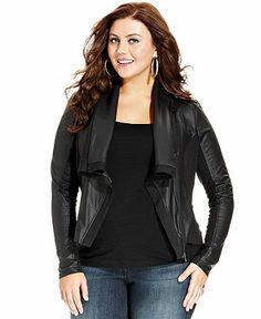Jessica Simpson Plus Size Jacket, Draped Moto - Junior Plus Sizes - Plus Sizes - Macy's