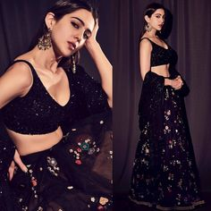 Black Party Wear Lehenga Choli With Floral Sequin – Siya Fashions Black Lehenga, Indian Lehenga, Lehenga Choli, Sabyasachi, Floral Lehenga, Bridal Lehenga, Anarkali, Indian Wedding Outfits, Bridal Outfits