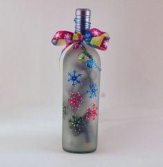 Wine bottle light multicolored snowflakes by LightBottlesByVicki