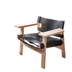 New Edition Borge Morgensen Spanish Chair in Black Leather and Oak ( No finish)