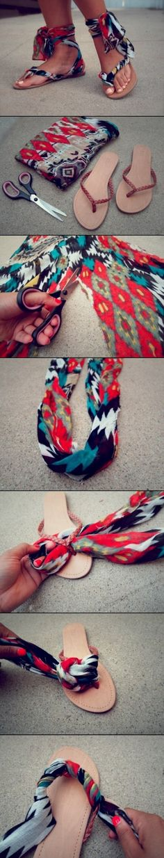 Colorful DIY Summer Sandals-this would be a solution for me, not being able to wear slops because of the limp.