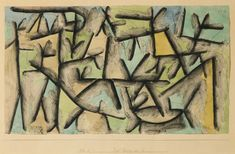 """HUNTING GROUND NEAR SP.,"" (JAGD REVIER BEI SP.)"" 1937, Paul Klee. Watercolor, gouache, pencil and charcoal on paper laid down on the artist's mount; 27.6 by 47.6cm., (10⅞ by 18¾ in.) Sotheby's 2014 sale ₤314,500."