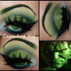 Inger of Easymakeupblog created this luscious Hulk inspired look with the help of Sugarpill Tako, Midori, Poison Plum and Bulletproof eyeshadows. Love the lashes and contacts too!