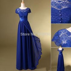 2015 Hot Sale Floor Length Scoop Short Sleeves Chiffon Lace Cap Sleeves Royal Blue A line Bridesmaid Dress -in Bridesmaid Dresses from Weddings & Events on Aliexpress.com   Alibaba Group