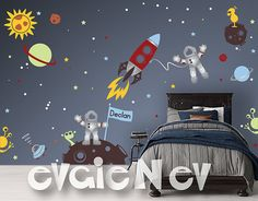Custom Flag Name Outer Space Themed Wall Decals features NEW item. Metallic Silver Space Astronauts, Asteroids, Rocket ship & FREE custom Name. Lots of dots to create constellations. Custom colors available. FREE testing decal is included. #WallDecals