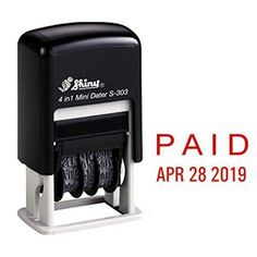 Shiny Self Inking Rubber Date Stamp PAID Red Ink (S-303)
