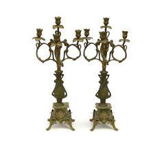 Art Nouveau Candelabra. French Candlesticks. Art Nouveau Woman Figure. Pair of Candelabra. Large Antique Candle Holders. Antique Chandelier.