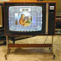 """Philips Colour Television Displaying """"Test Card F"""". After we upgraded I took our old TV for my bedroom. In those days we only had 3 channels! 1970s Childhood, My Childhood Memories, Childhood Images, Color Television, Vintage Television, Deco Retro, Tv Sets, Vintage Tv, Vintage Tools"""