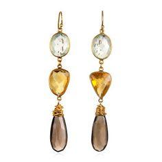 triple dangle earrings smoky topaz citrine