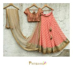 Love for peach continues.Peach lehenga set with intricate detailing .For more information Whatsapp on +91-9022617481. 10 September 2017