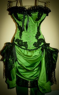 GREEN GYPSY  Burlesque Costume Corset dress for party by olgaitaly, $295.00