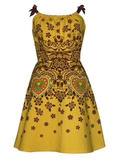 wycinanki dress - yellow & brown - polish paper cutting folk art screen print