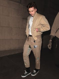 Here's to the Harrington: Brooklyn Beckham took his favorite tan Burberry jacket out for two spins this week. T Shirt Streetwear, Streetwear Fashion, Harrington Jacket, Burberry Jacket, Mood, Kids Fashion, Fashion Sets, Brooklyn, Street Wear