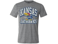 Kansas Jayhawks 1941 Fat Arch Distress Triblend Tee - Grey