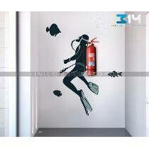 Buzo extintor decoración - #Buzo #Decoración #extintor Creative Wall Decor, Creative Walls, Diy Wall Decor, Arte Nerd, School Murals, Wall Murals, Wall Art, Paint Designs, Wall Design