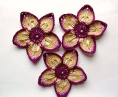 thread Crochet Flower Applique Large in purple by Fiscraftland