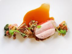 Eleven Madison Park Variations for pork (belly, loin, confit) served with spatzle and apple cider Eleven Madison Park, Chefs, Michelin Star Food, Modernist Cuisine, Gourmet Recipes, Sushi Recipes, Gourmet Desserts, Orange Recipes, Le Chef