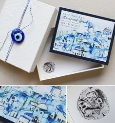 Custom watercolor save the date of Santorini, Greece, #momentaldesigns #watercolorsavethedate #santorinigreece #watercolorlandscape