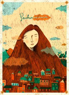 -.-Cristina Yépez-.-: Personajes de la Pachamama (Argentina) Art And Illustration, People Illustration, Portrait Illustration, Fantasy Kunst, Fantasy Art, Fantasy Paintings, Art For Art Sake, Mother Earth, Vintage Posters