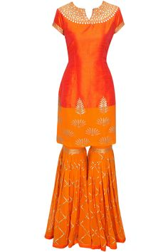 Orange gota patti embroidered sharara set available only at Pernia's Pop Up Shop.