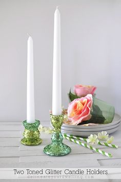 How to easily create DIY Two toned Glitter Candle Holders!  These are perfect for any party setting, too.  Love the glimmer they give off. Delineateyourdwelling.com