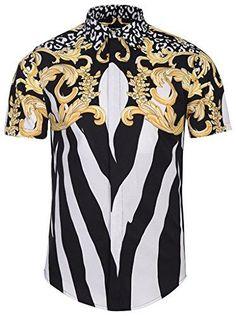 Men's Short Sleeve Shirts Pizoff Luxury Print Dress Shirt