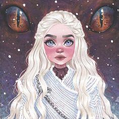 Mother of Dragons Daenerys Targaryen art Dessin Game Of Thrones, Arte Game Of Thrones, Art And Illustration, Daenerys Targaryen Art, Daenerys Targaryen Aesthetic, Cartoon Kunst, Cartoon Art, Arte Sketchbook, Fan Art