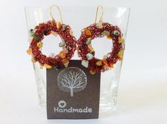 Handmade earrings with craft-wire and semi-precious stones By houseofcrafts.gr